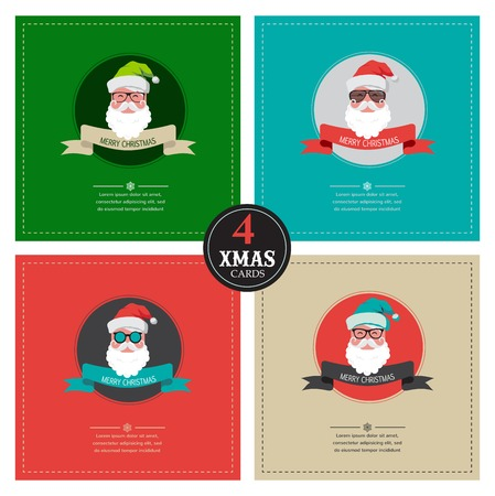 four xmas cards  with hipster santa . place for your text Vector