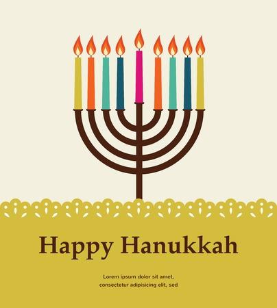 hannukah: happy hanukkah, jewish holiday. Hanukkah meora with colorful candles