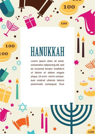jewish food: Vector illustrations of famous symbols for the Jewish Holiday  Hanukkah