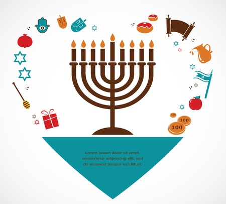 jewish holiday: Vector illustrations of famous symbols for the Jewish Holiday  Hanukkah