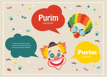 purim carnival: Card for Jewish holiday  Purim with clown and speech bubbles
