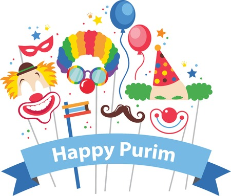 carnival costume: design for Jewish holiday  Purim with masks and traditional props. Vector illustration