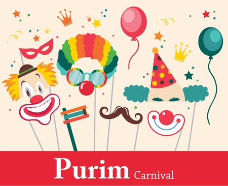 jewish food: design for Jewish holiday  Purim with masks and traditional props. Vector illustration