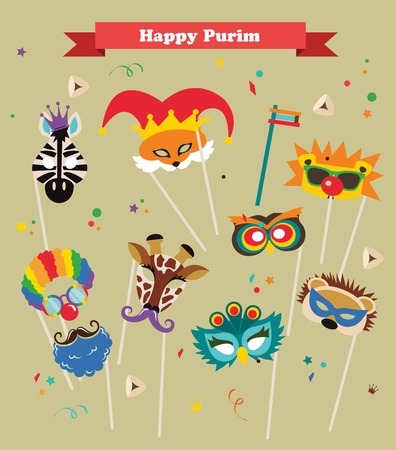design for Jewish holiday  Purim with masks and traditional props.  Illustration