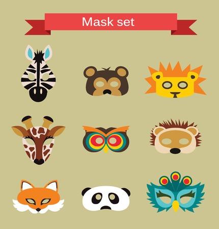 lion dessin: ensemble de masques d'animaux pour le Parti de costume Illustration