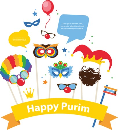 design for Jewish holiday Purim   with masks and traditional props.