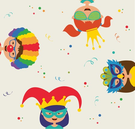 kids wearing different costumes. Jewish  holiday Purim Vector