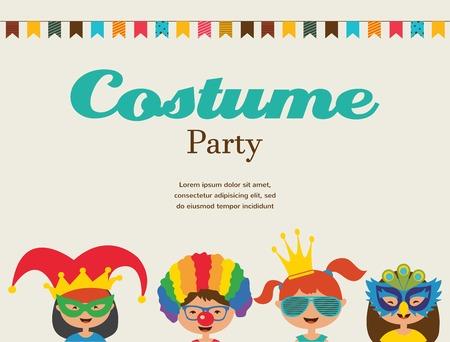 payasos caricatura: invitaci�n para la fiesta de disfraces. Ni�os vistiendo trajes diferentes