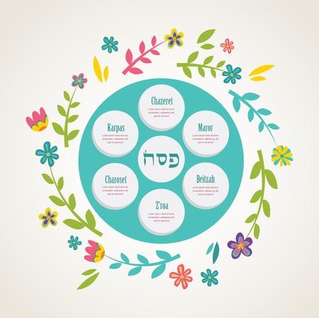 seder: Passover seder plate with floral decoration. vector illustration