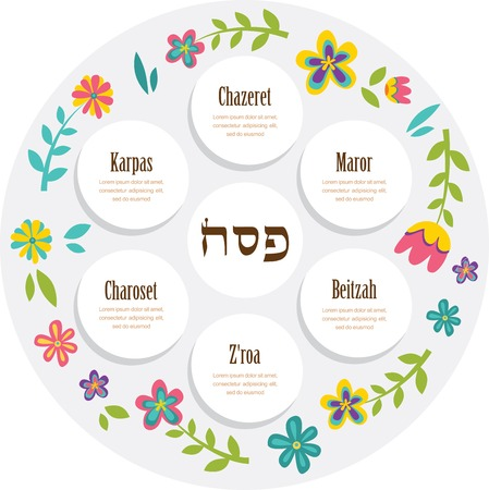 passover: Passover seder plate with floral decoration. vector illustration