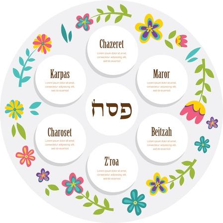 pesaj: Placa seder de Pesaj con decoraci�n floral. ilustraci�n vectorial