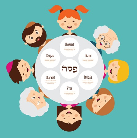 passover: big family around passover plate, pesah in  hebrew. happy holiday. Illustration