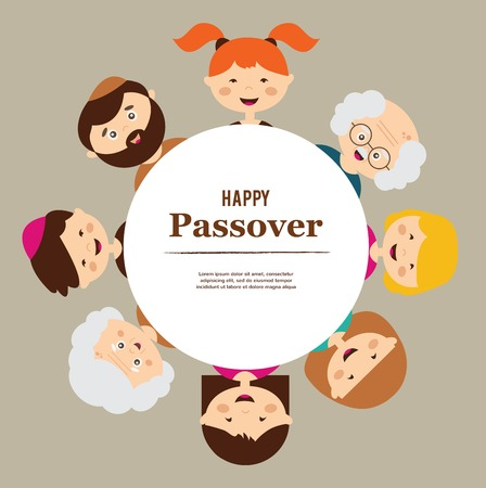 big family around passover  plate. happy holiday. Vector