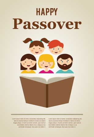 passover: family reading hagada book at passover  holiday, illustration with place for your text