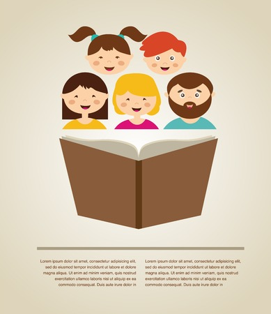 knowlage: family reading a book. illustration with  place for your text Illustration