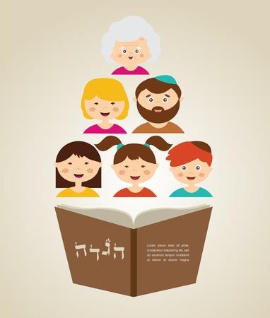 家族の過越祭の休日、あなたのテキストのための場所を示してで hagada 本を読んで  イラスト・ベクター素材