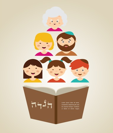 family reading hagada book at passover  holiday, illustration with place for your text
