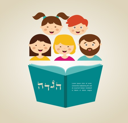 family reading hagada book at passover  holiday, illustration with place for your text Vector