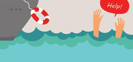 drowning man screaming  for help. summer danger 向量圖像
