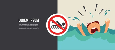 no swimming: Man drowns.  Prohibition forbidden red symbols for no swimming