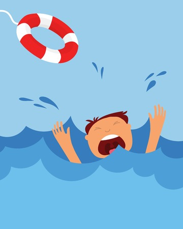drowning man screaming  for help. summer danger 일러스트
