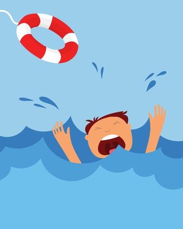 drowning man screaming  for help. summer danger Stock Illustratie