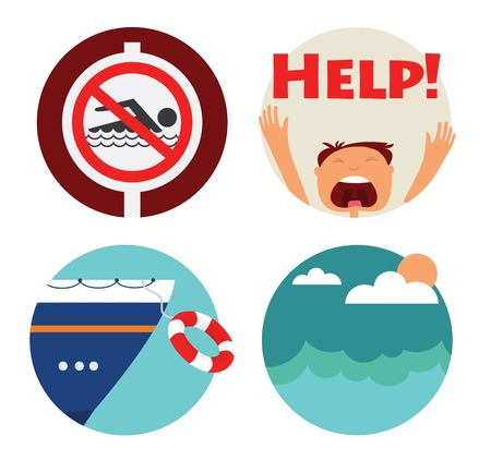 no swimming: rescue of drowning man icons. Prohibition forbidden red symbols for no  swimming