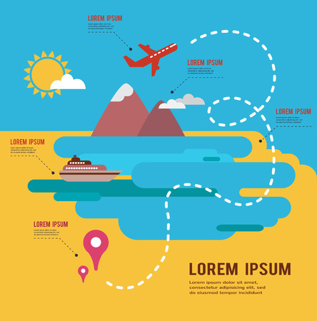routes: summer holidays infograpics, travel around the  world map Illustration