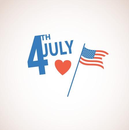 independencia: Feliz día de la independencia de Estados Unidos de América, el 4 de julio con tarjeta de diseño plano Vectores