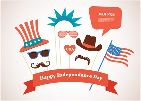 costume props for independence day of America Vector Illustration