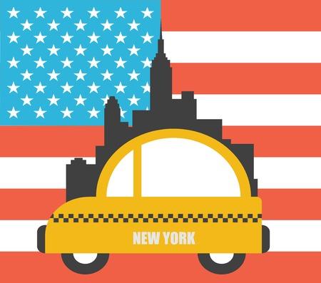 new york skyline: USA Colour Flag New York City  Vector Skyline Illustration