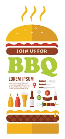 BBQ party invitation. desighned as  a hamburger Illustration