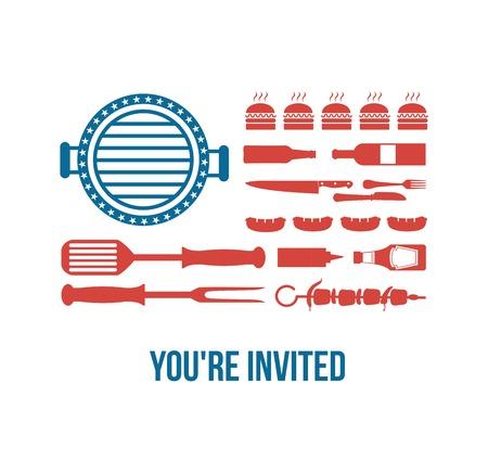 アメリカでは、バーベキューの部分のための招待のハッピー独立記念日