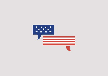 patriotic: Usa - United States flag in speech bubble. July 4th, America, communication, democracy vector  icon Illustration