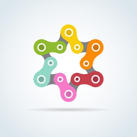 estrella de david: colorido estrella cadena de bicicleta. david estrella, ilustración
