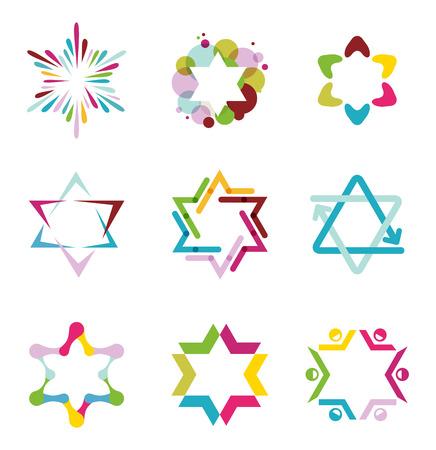 estrella de david: colección de iconos de colores estrella abstractas, símbolos y elementos gráficos, ilustración vectorial Vectores