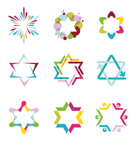 jewish star: collection of colorful abstract star icons, symbols and graphic elements, vector illustration
