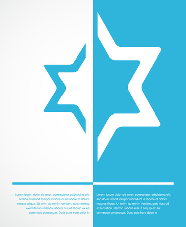 jewish star: poster of jewish sign of david star with place for text. illustration