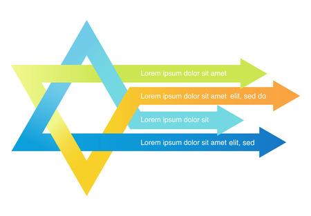 cursor: crossed arrows creating david star . abstract illustration