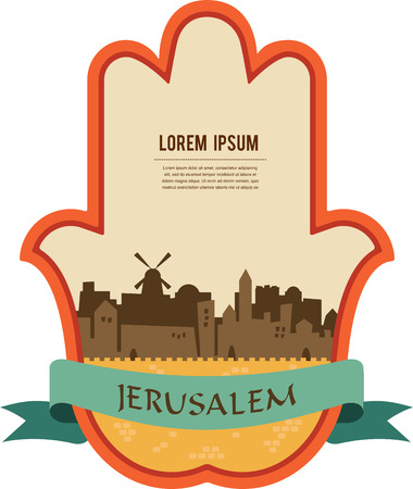 cabala: Jerusalem skyline inside hamsa hand. vector illustration