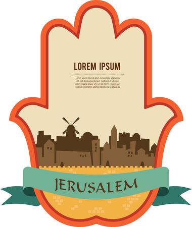 Jerusalem skyline inside hamsa hand. vector illustration