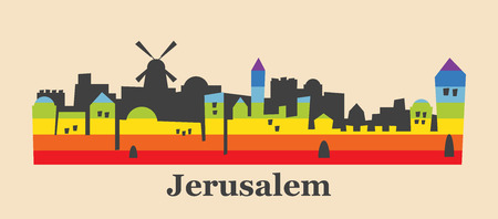 Jerusalem skyline colored with gay flag colors. illustration Çizim