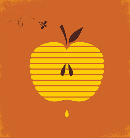 apple and honey: Rosh hashana greetng card with abstract apple  illustration Illustration