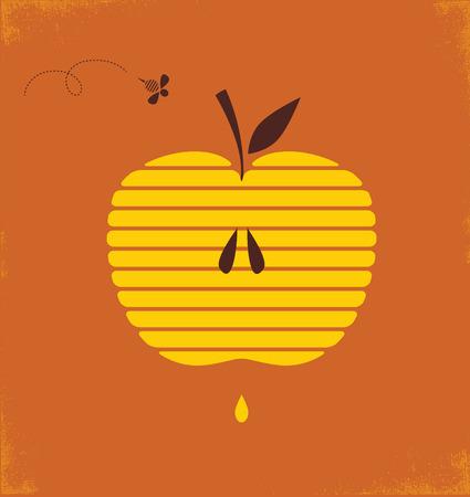 hashana: Rosh hashana greetng card with abstract apple  illustration Illustration