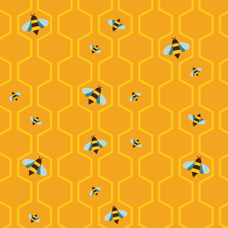 busy person: pattern of the bee on honeycombs  background