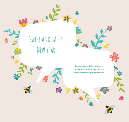rosh: Rosh hashana Jewish holiday greeting card  with flower frame