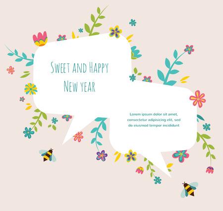 hashana: Rosh hashana Jewish holiday greeting card  with flower frame