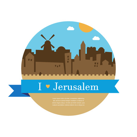 western wall: skyline of old and holy city of Jerusalem with wailing wall