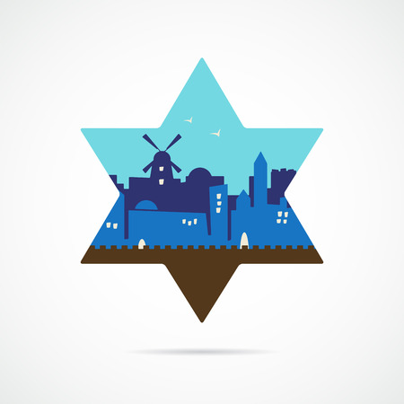 israel jerusalem: Jerusalem Israel skyline silhouette flat design inside david star. illustration