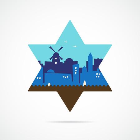 jeruzalem: Jeruzalem Israël skyline silhouet platte ontwerp binnen david ster. illustratie